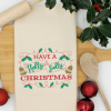 Christmas Tea Towel Holly Jolly Embroidery