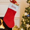 Personalised Stocking Red and White Plush Fur Stocking