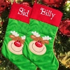 Personalised Stocking Reindeer Stocking Red Green