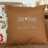 Embroidered Cushion Personalised Anniversary Cushion in Mocha