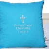 Holy Cross Christening Cushions Personalised Blue Cushion