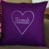 Personalised Cushion Name in Love Heart Outline Embroidered