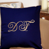 Initials Cushion Navy Embroidered Monogram Cushion