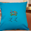 Monogrammed Cushion Spring Flowers Sewing Machine Embroidered Cushion