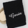 Personalised Flannel Black Embroidered Face Cloth