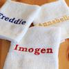 Personalised Face Cloth White Embroidered Flannel