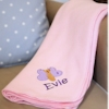 Light Pink Embroidered Fleece Blanket