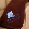 Embroidered Brown Fleece Blanket