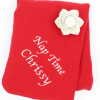 Personalised Blanket Red Fleece Throw Embroidered