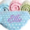 Personalised Throw Blanket Polka Dot Fleece Blue and White