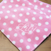 Personalised Throw Blanket Pink and White Polka Dot Fleece