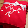 Red Fleece Blanket Personalised Love Hearts Throw
