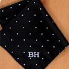 Pocket Square Personalised Black Pin Dot Satin Handkerchief