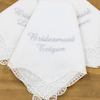 Bridesmaid Handkerchief Personalised Lace Butterfly Corner