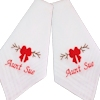 Christmas Handkerchiefs Personalised Hankies Red Bow Embroidery