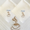 Ladies Handkerchiefs Set Coffee Cup Embroidered Hankies