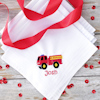 Fire Engine Hanky Childrens Personalised Handkerchief