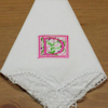 Monogrammed Ladies Handkerchief Floral Initial Butterfly Lace Hanky