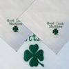 Personalised Good Luck Hanky Green Clover Personalised Handkerchiefs