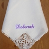 Ladies Linen Handerchief Shamrock Crochet Corner