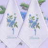 Blue Flower Spray Personalised Hankies