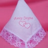Ladies Handkerchief Hearts Entwined Lace Trim Hanky