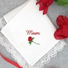 Personalised Ladies Hanky Rose Embroidered Handkerchief