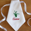Ladies Personalised Hanky Snowdrops Lace Trim Handkerchief