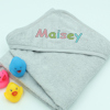 Personalised Baby Towel Grey Hooded Towel Multicolour Name
