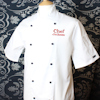 White Short Sleeve Chef Jacket Embroidered