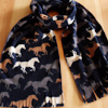 Adults Fleece Scarf Horses Print