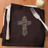Embroidered Floral Cross Brown Napkin