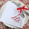 Embroidered Cloth Napkins White Personalised Dinner Napkin