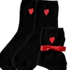 Embroidered Socks Love Heart Motif Socks