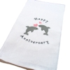 Anniversary Tea Towel Dolphin Hearts Embroidered
