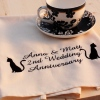 Personalised Tea Towel Cats in Waiting Silhouette Tea Towel