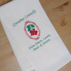 Cherries Tea Towel Personalised Embroidered Kitchen Towel
