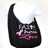 Embroidered Cross Body Sling Bag Faith Hope Love Cotton Hobo Bag