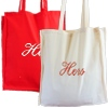His and Hers Bags Embroidered Cotton Totes Red and Natural