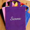 Personalised Goodie Bag Cotton Mini Tote Purple