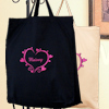 Embroidered Hearts Shopping Bag Short Handle Reusable Tote