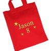 Personalised Party Bag Red Cotton Goody Bag