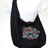 Hobo Fashion Sling Bag Embroidered Deco Wolf Eco Cotton Bag