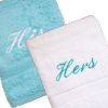 Personalised Bath Towels Aqua and White Set