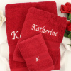 Towel Gift Set Personalised Red Bath Hand Flannel