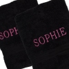 Personalised Bath Towels Pair of Black Towels