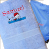 Personalised Blue Swimming Towel and Bag Set
