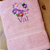 Embroidered Bath Towel Butterfly Wreath Personalised Towel