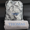 Grey Sports Towel Set Towel and Camo Bag