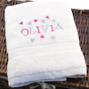 Personalised Childs Towel Girls Scatter Hearts Towel